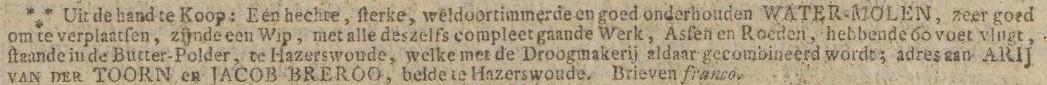Krantenartikel Opregte Haarlemsche Courant, 25-04-1815 - Molen Nieuw Leven